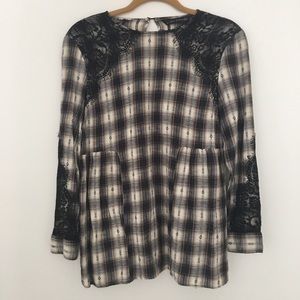 Zara Flannel Lace Top